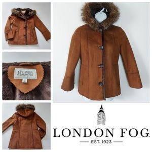 Tower By London Fog Faux Suede & Fur Coat Like New